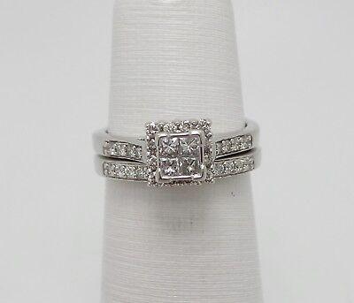 ZALES 1/2CT PRINCESS DIAMOND ENGAGEMENT WEDDING BRIDAL SET RING 14K WHITE GOLD