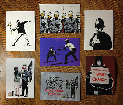 Banksy set of SEVEN Graffiti Canvas ACEO giclee Prints Street Art - WOW