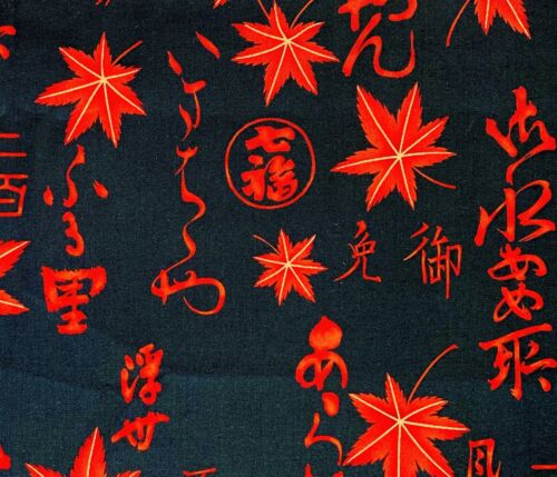 "1/2 Yard Cotton Quilting Fabric Alex. Henry ""Momiji Kanji"" Japanese Maple Leaves"