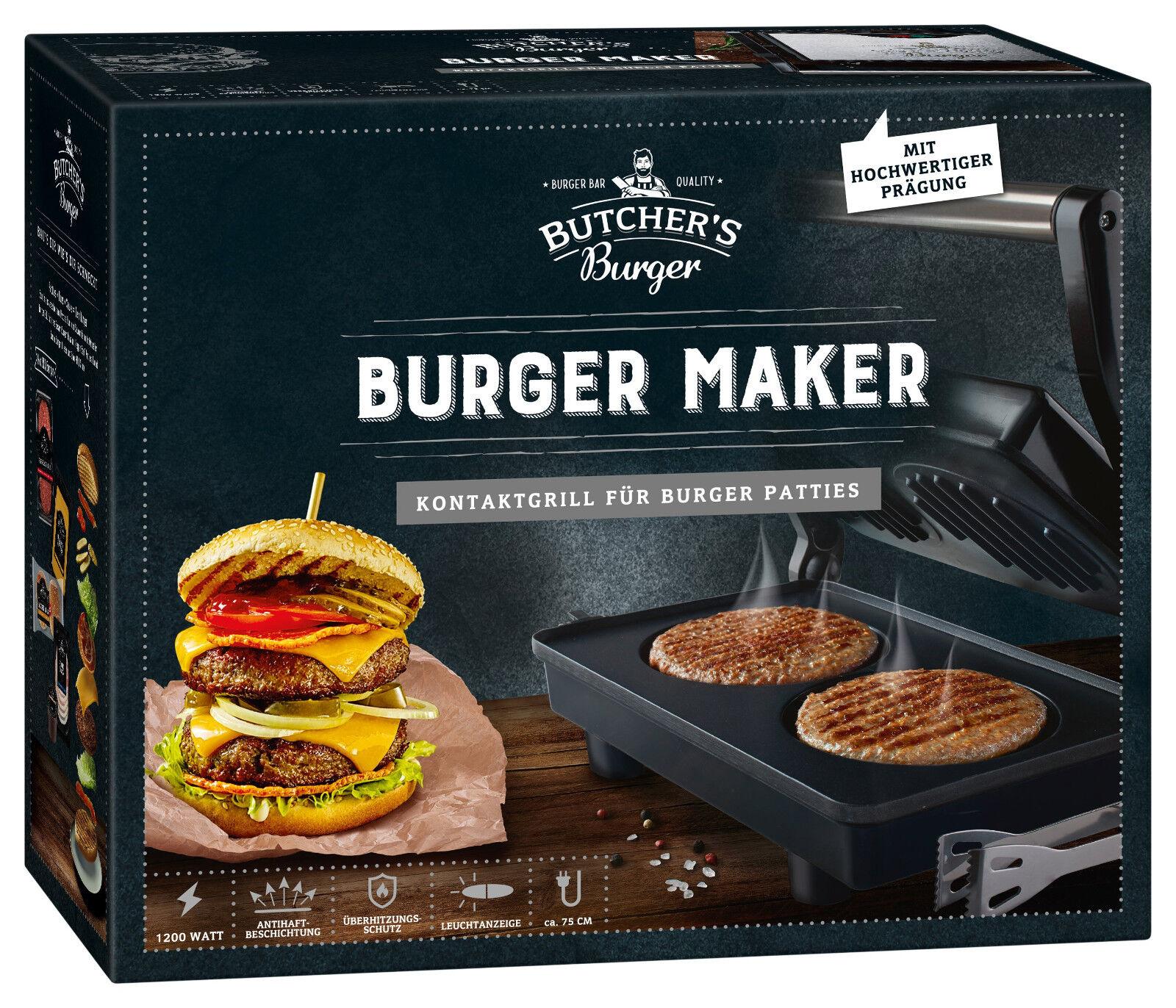 Butchers Burger Maker elektrischer Burger-Grill Hamburger-Maker BURGERBRATER TOP
