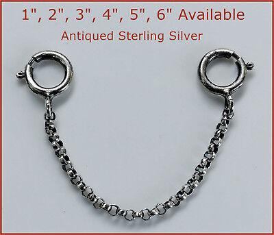 "925 Antique Sterling Silver Safety Chain/Extender For Necklace/Bracelet 1""-6"""