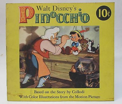 Walt Disney's PINOCCHIO soft cover book DELL Publishing 1939