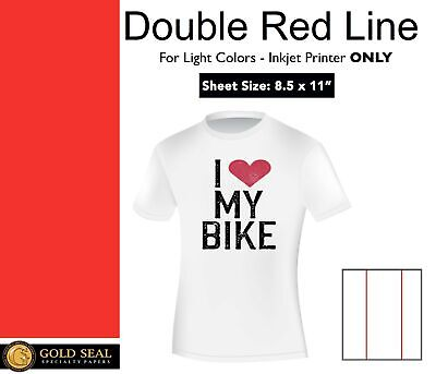 Double Red Line Light Iron On Heat Transfer Paper For Inkjet 8.5 X 11 -25 Sheets
