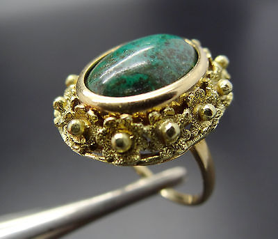 "18k Gold 15.8mm Oval Chrysocolla & ""Forget Me Not"" Flowers Healing Stone Ring"