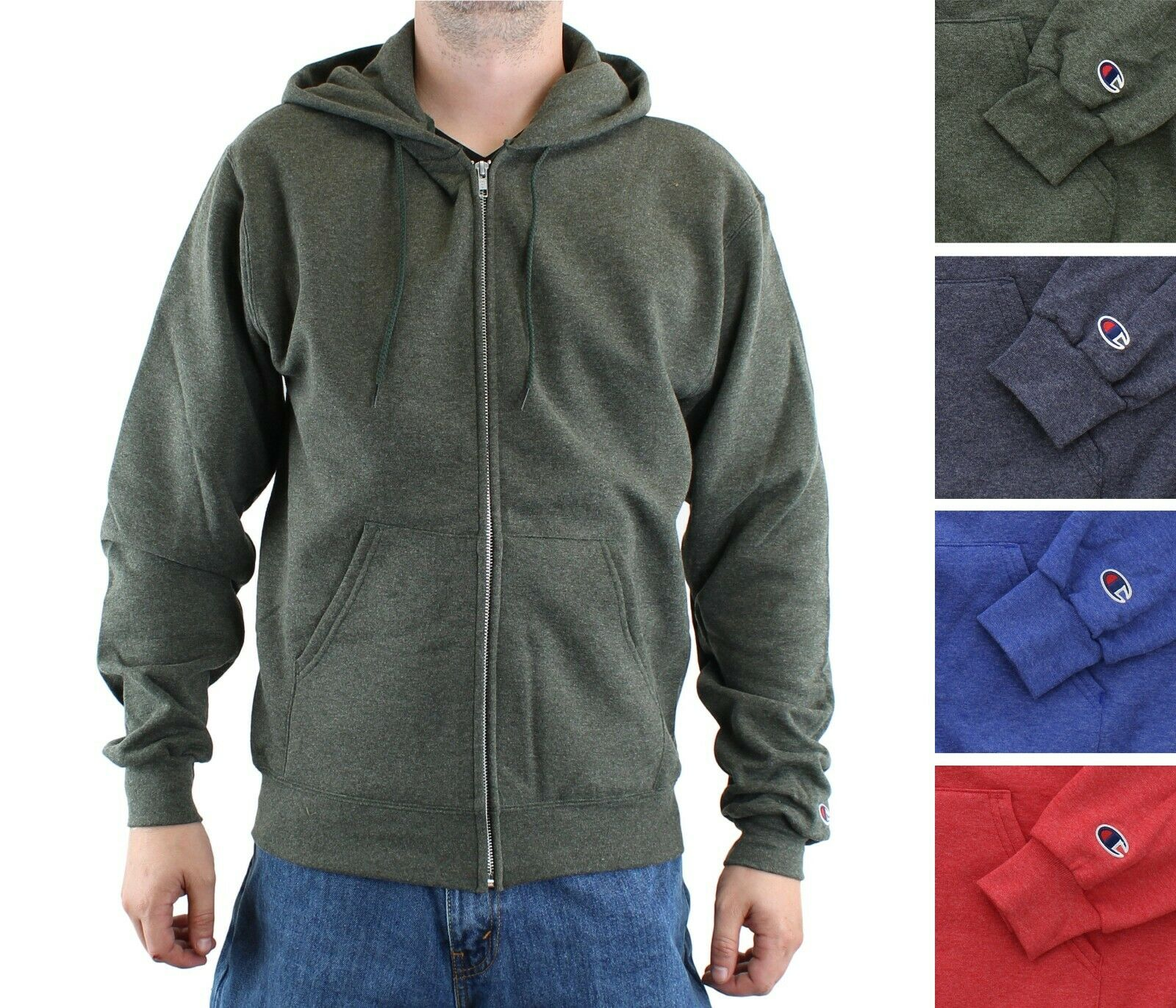 Champion Mens Full Zip Logo Hoodie Hoody Hooded Top Long Sleeve Lightweight