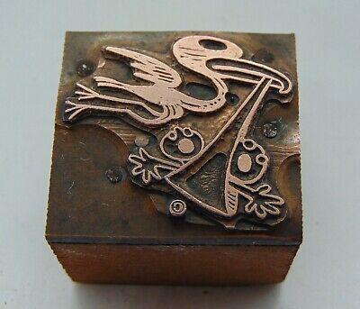 Vintage Printing Letterpress Printers Block Stork Carrying 2 Babys