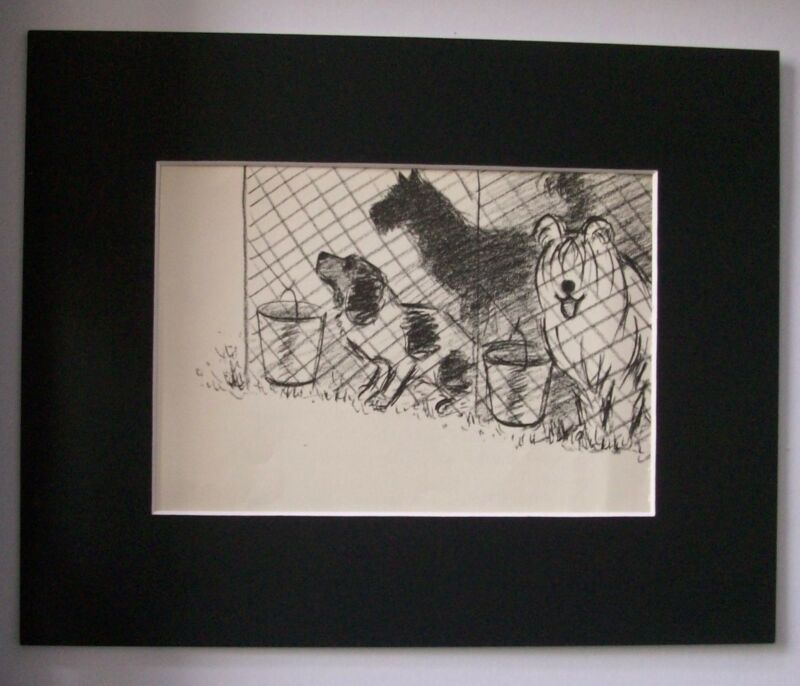 Dog Print Clare Newberry Fenced In Hound Terrier Shaggy Bookplate 1961 Matted