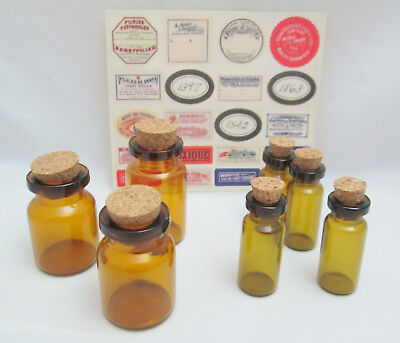 Halloween Ideas Glass Jars (Tim Holtz Idea-ology Apothecary Vials Small Corked Glass Jars With)