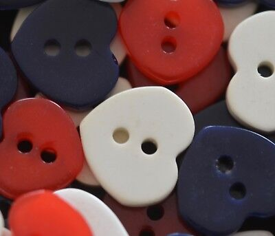 Discount Heart - 50 RED WHITE BLUE HEART BUTTON PLASTIC CASEIN REALISTIC 9/16