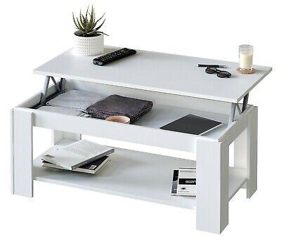 Mesa de centro elevable en color blanco de 100 cm con bandeja...
