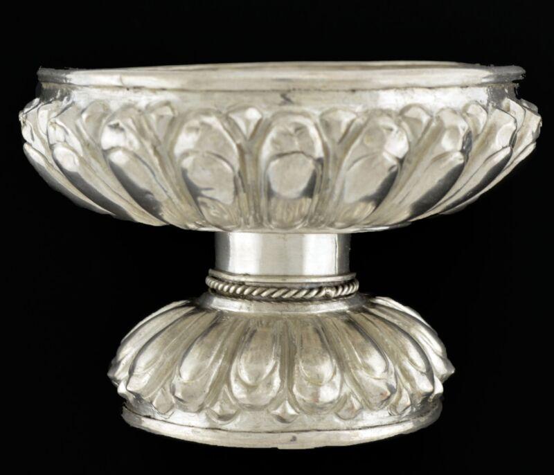 Antique Burmese Fine Silver Repousse Scalloped Offering Bowl Incense Burner