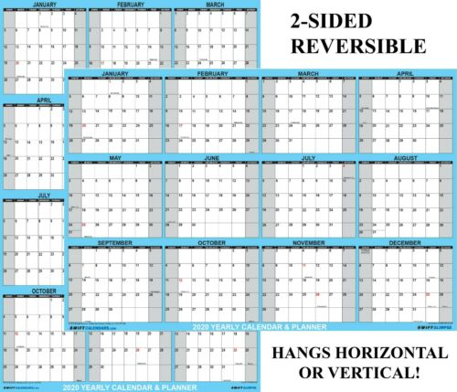 "2020 Large Wall Calendar 24"" x  36"", Wall Planner, Reversible, Yearly Planner"