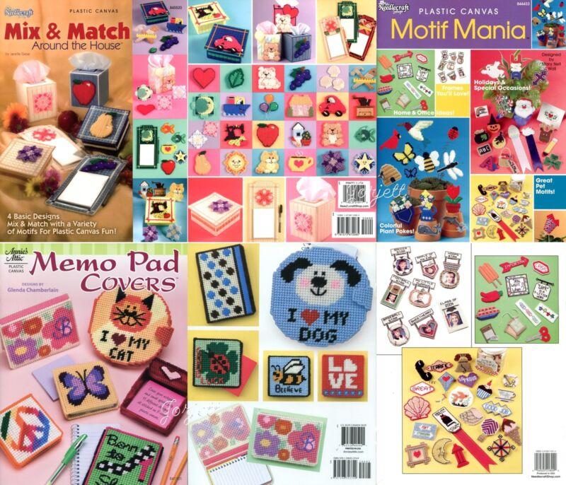 Lot of Plastic Canvas Pattern Books, Mix & Match Home Decor Gifts & Motifs NEW