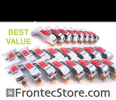 24 X Chrome Door Handles W Red Button Ipso Washer 2170005100 Silver T-shape