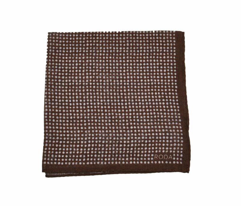 RODA Brown Printed Linen Pocket Square Pochette ~ Made in Italy