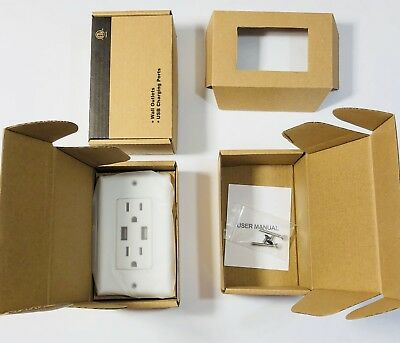 - 110V White Wall Power Outlet with Dual USB 3.1a Fast Charger Apple Android