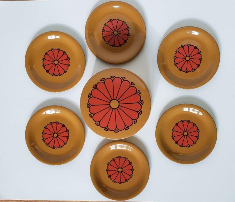 Vintage CTO Japan Laqcuer Ware Coaster Set - Retro Orange Flower On Harvest Gold