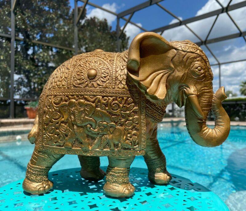 "New Elephant Statue Figurine TRUNK UP Feng Shui Lucky Gold Fall Home Decor 10"""