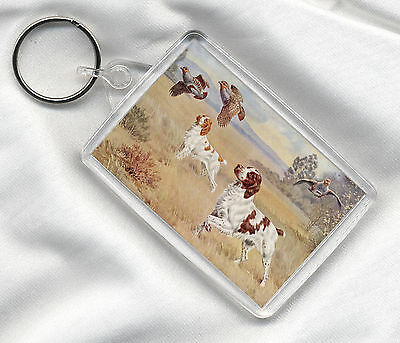 KEY RING BRITTANY SPANIEL DOGS AT WORK DOG PRINT IMAGE INSERT GREAT GIFT