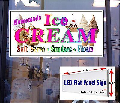 LED Sign Ice Cream Sundaes Soft Serve  48x24 window sign New Generation LED