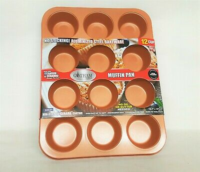 """Gotham Steel Standard 12-Cup Muffin Pan with Nonstick Quick Release Copper 13.7"""""""