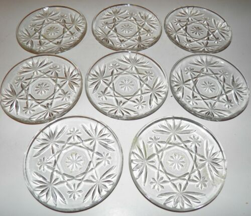 VINTAGE OATMEAL GLASS PRESCUT GLASS COASTERS HTF GREAT CONDITION SET OF (8)