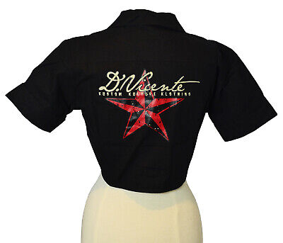 DAVID VICENTE [STAR] HEMD GEBUNDEN BLUSE T-SHIRT ROCKABELLA ROCKABILLY TATTOO IN