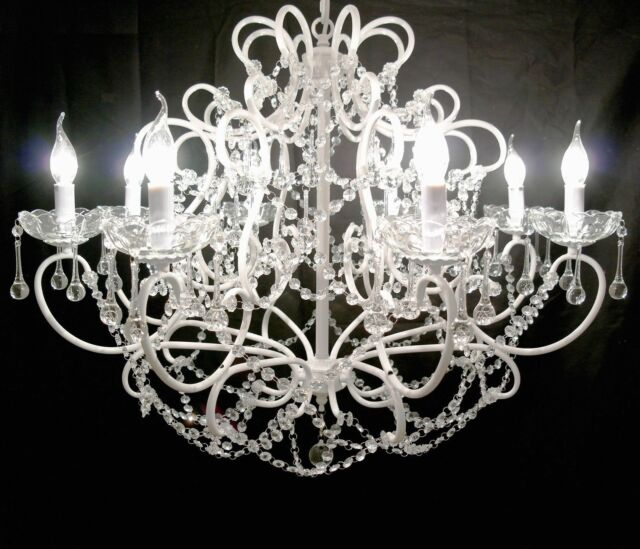 Large 8 arm branch white shallow french cut glass chandelier ebay french large white 8 arm branch shallow cut glass chandelier shabby chic quality aloadofball Gallery