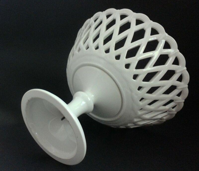 Porcelain Compote Reticulated antique bowl basket weave pedestal centerpiece