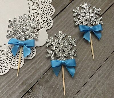 12 Silver Glitter Snowflake Cupcake Toppers, Winter Wonderland, Frozen Party