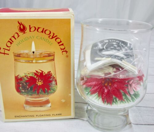 Vintage Flam Buoyant Holiday Candle Clear Glass Pinecone Poinsettia Retro Mod