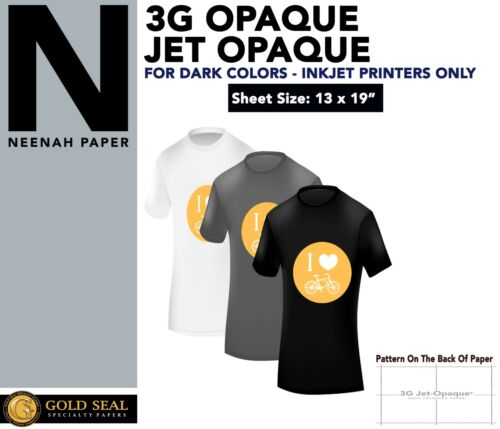 """Iron On Heat Transfer Paper for Dark 3G Jet-Opaque 13"""" X 19"""""""