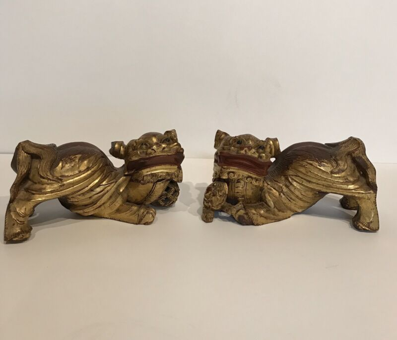 Pr Of Antique Polycrome Chines Wooden Carved Fu Lions Fu Dogs
