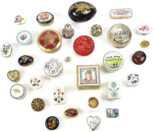 LOT 31 Vintage Porcelain Pillbox Trinket Boxes - Limoge, Halga, Chantilly