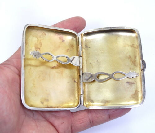 Antique English style CIGARETTE Holder Sterling Silver Hinged Box Card Case 84g