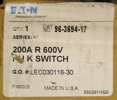 Eaton Cutler Hammer C361nf Disconnect Switch 3 Pole 200 Amp 600 Vac 96 3694 17