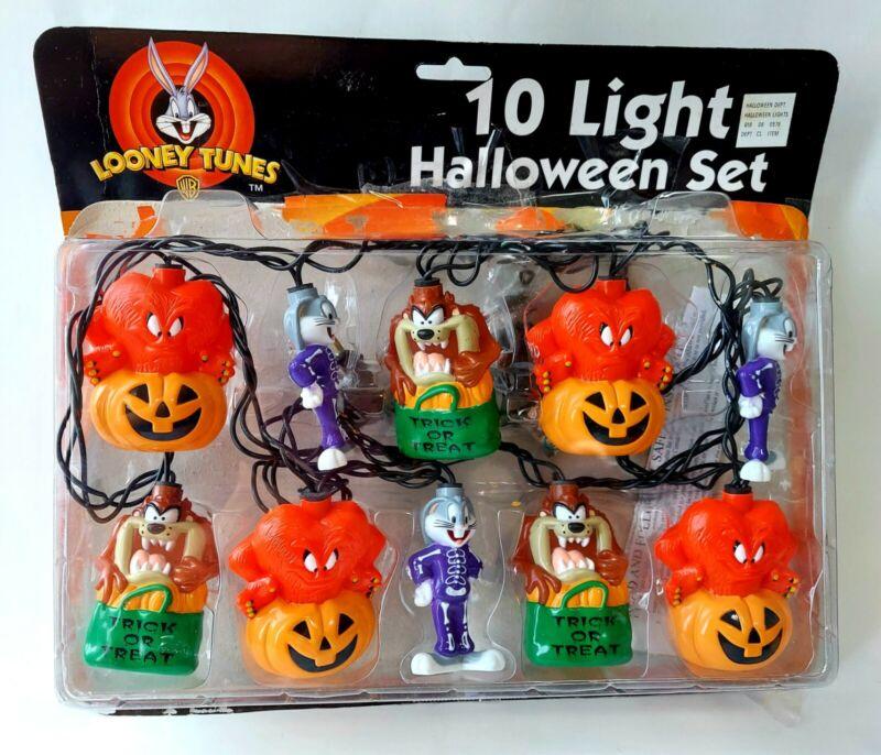 1998 Looney Tunes 10 Light Indoor String Halloween Set Bugs Bunny Taz Vintage