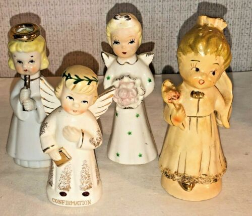 LOT OF 4 VINTAGE MID CENTURY ANGEL / GIRL FIGURINES, CONFIRMATION