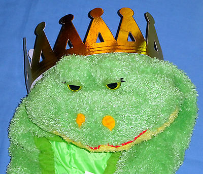 Frog Costume (PLUSH GREEN FROG COSTUME KID L-7-10;TOAD;PRINCE;gold crown;HALLOWEEN;School)
