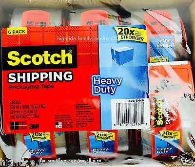 3m Scotch 20x Stronger Heavy Duty Shipping Package Tape 6 Rolls Dispenser 166yd