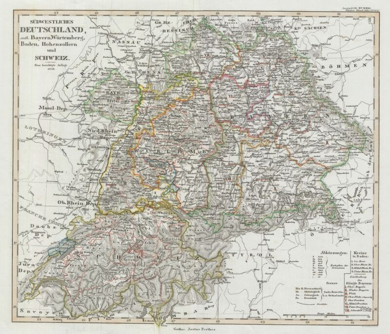1853 Perthes Map of Southwestern Germany and Switzerland
