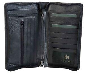 PRIMEHIDE BLACK RFID LEATHER TRAVEL ORGANISER PASSPORT ZIP AROUND WALLET 9300