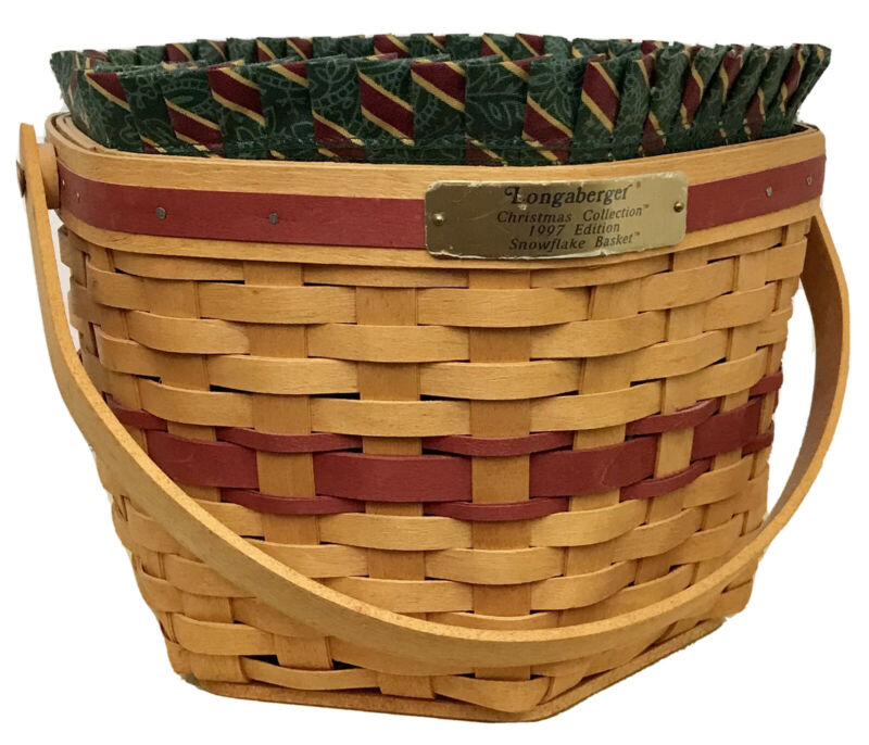 Longaberger Christmas Collection Red Snowflake Basket 1997, Protector, Liner
