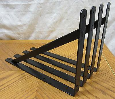 """Lot 4 Black Extra Heavy Duty Steel 14.5"""" x 10"""" Shelf Brackets! Metal Countertop"""