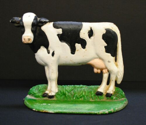 """1950s Vintage Hand Painted Cast Iron Cow Door Stopper/Paper Weight, 6""""x7.5"""""""