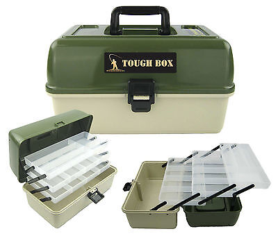 LARGE FISHING TACKLE BOX 3 TRAY CANTILEVER 'TOUGH BOX' SEA COARSE GAME FISHING