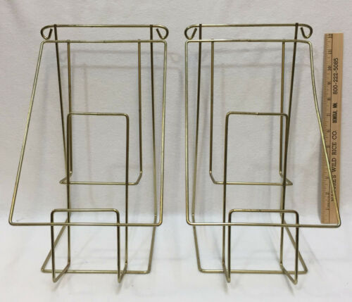 Display Rack Brass Plated 2 Tier Brochure Pamphlet Books Store Business Set 2