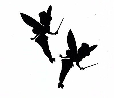 Black Silhouette Tinkerbell Fairy paper cut outs cutouts shapes