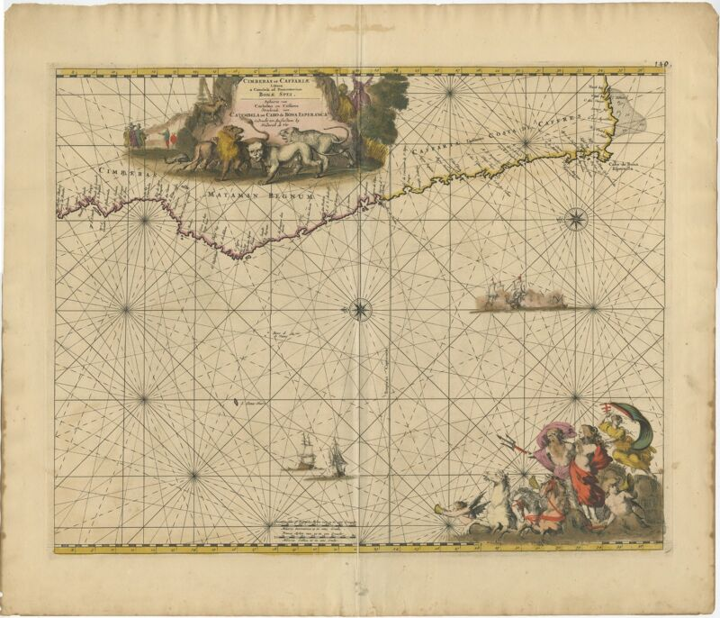 Antique Map of the Southwestern Coastline of Africa by De Wit (1675)