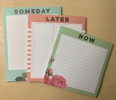Note Pads 3 Pack Floral 150 Sheets Total New